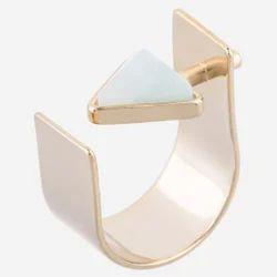 Light Aventurine Trillion Shape Gemstone Modern Latest Designable Fashion Ring
