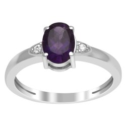 925 Sterling Silver 1.00 Ctw Amethyst Gemstone Women Stackable Ring