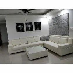 White Wood (frame Material) L Shape Box Sofa Set