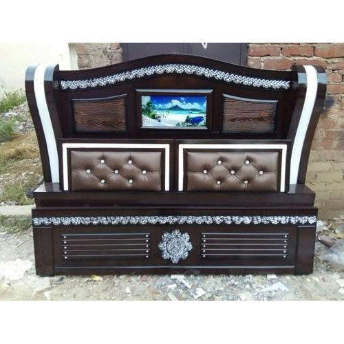 Wooden And Leather Brown Wooden Bed Headboard