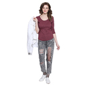 Women 100% Cotton Boat Neck  Maroon T-shirt