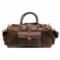 Large Capacity Buffalo Leather Luggage Bag High Quality Men Duffel Travel Bag With Custom Logo