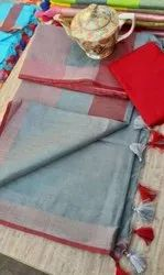 Party Wear Plain Lilen Saree, 6 m (with blouse piece)