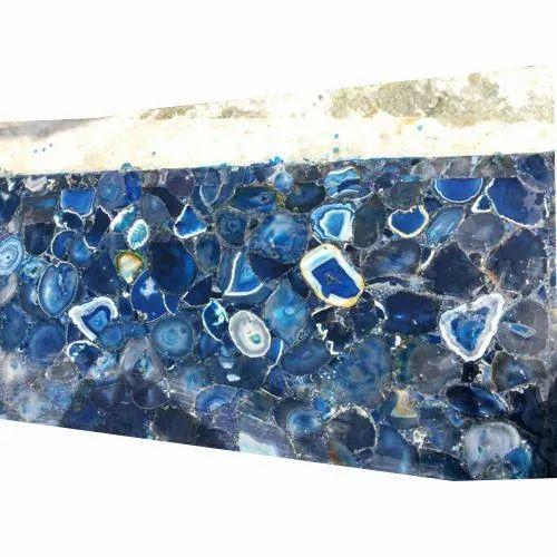 Blue Agate Semi Precious Slab