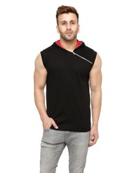 Black/Red Solid Hooded Vest