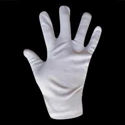 White Nylon Hand Gloves, Size: Medium