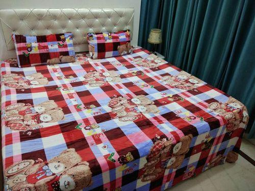 Printed Velvet Super Soft Touch Double Bed Sheet, Size: 220 *240 Cm