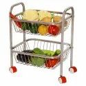 Parasnath Mirror Finish 2 Shelf Square Vegetable and Fruit Trolley