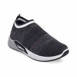 Kids Black Grey Slip On Shoes