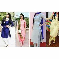 Straight 3/4th Sleeve Ladies Casual Wear Cotton Kurti, Size: S-XXL, Wash Care: Handwash