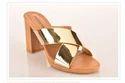 Criss Cross Chunky Heel Slip On Sandals