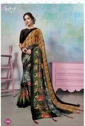 Fancy Designer Brasso Printed Saree