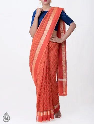 87cc6c1731 Kota Cotton Saree With Hand Block Prints, Length: 6.20 m with Blouse Piece
