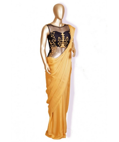 Golden M Black Corset Blouse With Saree
