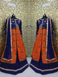 Designer Embroidery Mirror Work Indo Western Gown