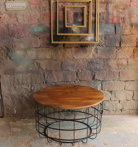 Vintage Round Metal Cage With Mango Wood Table