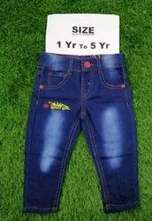 Blue Party Wear Kids Faded Jeans