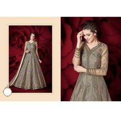 Party Wear Stitched Ladies Anarkali Net Full Sleeves Suit