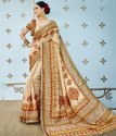 Cream Pure Banarasi Silk Printed Saree