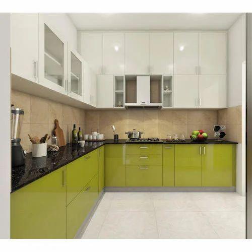 Designer L Shaped Modular Kitchen At Rs 2500 Square Feet: Laminate Finish L Shape Modular Kitchen At Rs 800 /square