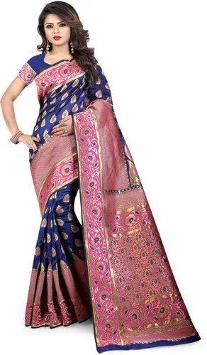 b547bc64a5 Navy Blue Party Wear Heavy Pallu Banarasi Silk Saree with Blouse Piece