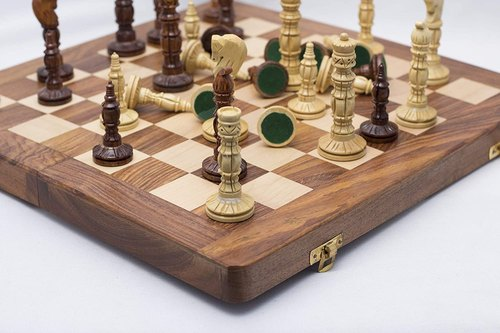 Paramount Dealz Hand Crafted Carving Chess Set (14 inches Wooden Board/Leather Bag)