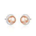 CZ Pearl Round Shape White Rhodium Plated Silver Earrings Jewelry