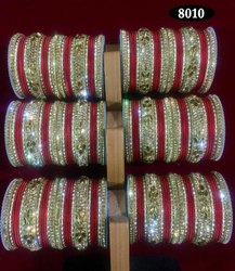Red Stone Indian Bangles Set