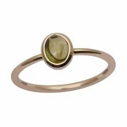Stackable 9k Yellow Fine Gold Green Tourmaline Tiny Stacking Ring