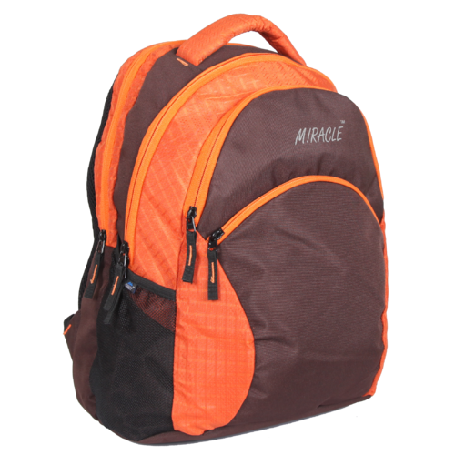 Orange And Brown Printed Fancy Backpack Bag ccd96a59ce273