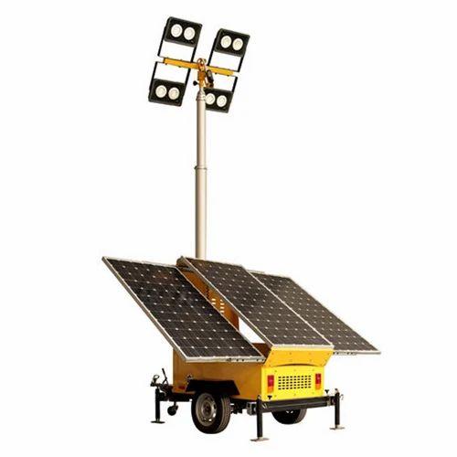 Portable Light Towers Price: Galvanized Iron LED Solar Light Tower, 12V-24V, Rs 300000