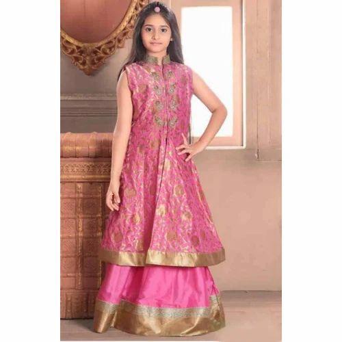 0d779ce3b Pink   Golden Female Kids Dress