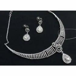 White Gold Diamond Necklace Set