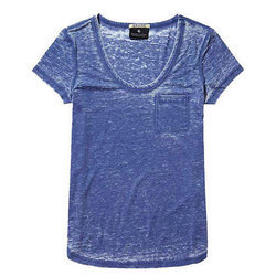 Female Plain Mens Blue Cotton T-Shirt, Adult