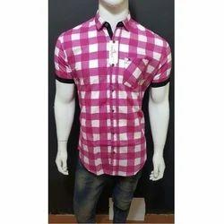 Cotton Casual Mens Half Sleeve Check Shirt