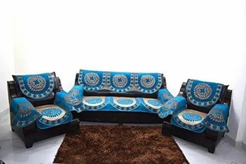 Blue Polyester Round Circle Designer, Blue Sofa Covers