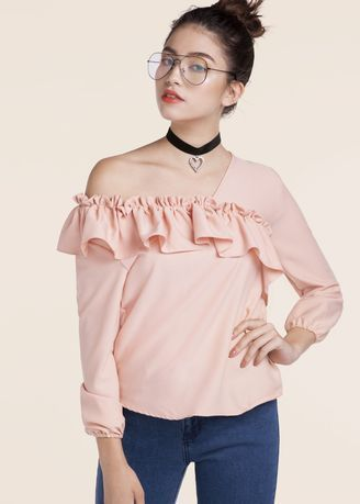 Chiffon Casual Cross Ruffled Stylish Top