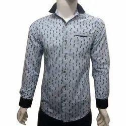 Men Cotton Full Sleeves Printed Shirt, Size: S-XXL