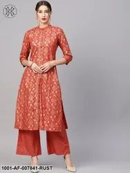Rust Orange Gold Printed Kurta Set