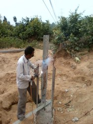 RUSTED STUB REPARING IN TRANSMISSION LINE, AND TACK WELDING,
