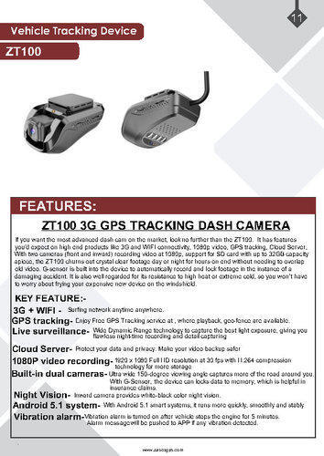 ZASCO JC100 3G GPS Tracking Dash Camera Gps Tracker