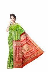 Orange And Green Color Gaji Silk Bandhani Saree