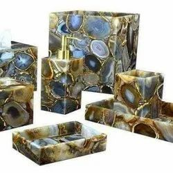 Sqaure Mixed Resin Bathroom Set, For Hotel, Size: Adjustable