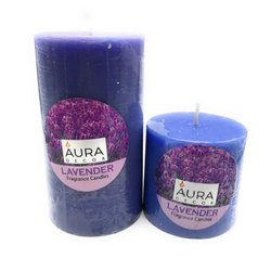 AuraDecor Lavender Fragrance Pillar Candle