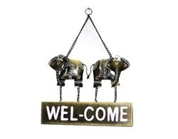 Iron and Wooden Elephant Welcome Wall Home Decor