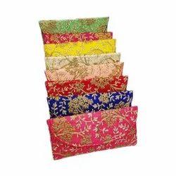 Embroidered Raw Silk Ladies Hand Clutch Purse, Size: 9x7 Inch