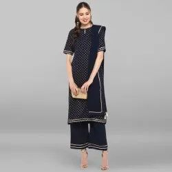 Navy Blue Poly Crepe Kurta With Palazzo And Scarf(SET102)