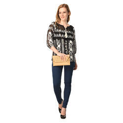 Womens Georgette Black Embroidered Fancy Top