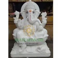 Ganesh White Marble Moorti