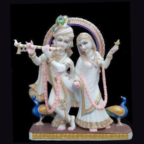 White Plain Marble Radha Krishna Statue For Temple Rs